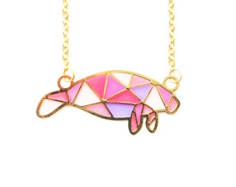 Pink Geometric Manatee 24kt Gold Plated Necklace