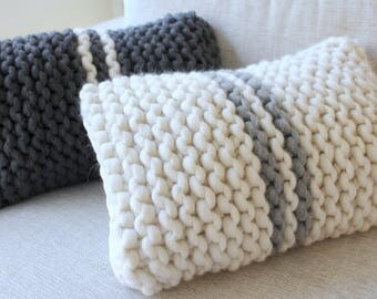 Unique Set Chunky Knit French Stripe Cushions. Unusual Throw Pillow. One of a kind. Hygge. His & Hers Pillows. Housewarming. Wedding gift.