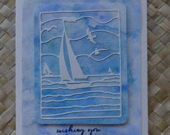 "Sailboat ocean themed birthday card ""wishing you oceans of joy"""