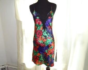 Victoria's Secret sz XS 80s Vintage Floral Satin & lace Nightgown Lingerie crown label petite