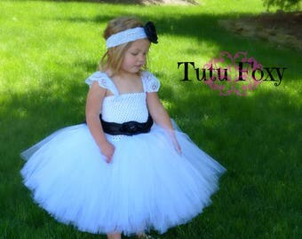 white flower girl tutu dress, white flower girl dress, white tutu, flower girl dress,  white flower girl tulle dress,