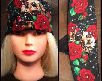 Skull and Red Roses Touch Fastener headband