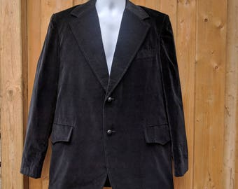 Vintage 1970's Men's Black Velvet Large Lapel Tux / Blazer / Sport coat / Jacket made in Hong Kong