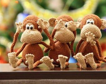 Crocheted Monkey, Monkey Toy for kid, Christmas gift