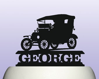 Personalised Acrylic Model T Year 1908 - 1927 Vintage American Classic Car Birthday Cake Topper Decoration