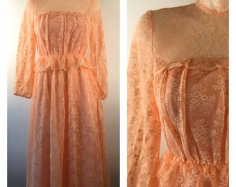 Vintage 70s Peach Lace Prom Dress Long Sleeve Romantic Bohemian High Neck Ruffles