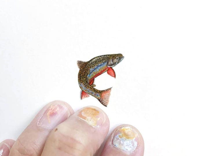 Print of miniature watercolor painting of Brook Trout.  giclee print of trout