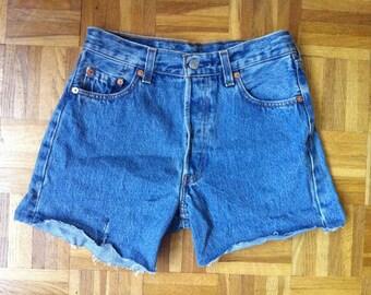 1990s Levi Strauss 501 stone blue denim cut offs shorts / 28 - 34