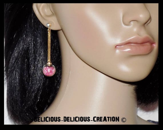 These earrings! BUBBLE CHAIN! metal and glass topped with pink beads T 6 cm long belicious delicious creation
