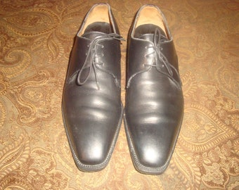 Black Leather Ermenegildo Zegna Couture Oxfords 9EE