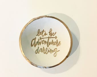 Clay Ring Dish, Lets Be Adventurers, Wedding Gift, Bridal Shower Gift, Anniversary Gift, Jewelry Holder, Gift For Her, Ring Holder