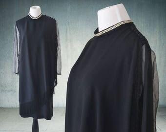 1960s Black Cocktail Dress Sheer Sleeves and Rhinestone Trim Fringe Large