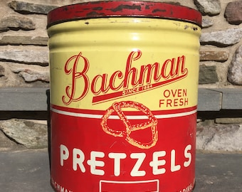 Vintage LargeBachman Pretzel Tin...Red. Yellow. Lid. Metal. Graphics. Advertising. Snacks. Pretzels. Reading. Cannister. Container. Can.