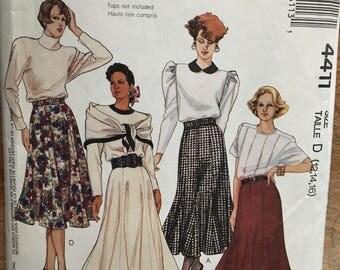 1989 McCall's Knee to Calf Length Seamed Gadot Skirt w/ Belt & Gores sz 12 14 16 #4411
