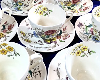 Spode Cups Saucers Dish Set of 24, 12 Each Copeland Gainsborough Pattern Great Britain Floral Old Mark Brown S245 Excellent Vintage 1950s