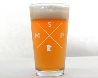 Minneapolis Glass | Minneapolis Pint Glass - Beer Glass - Pint Glass - Beer Glasses - Pint Glasses - Beer Mug - Minneapolis Minnesota
