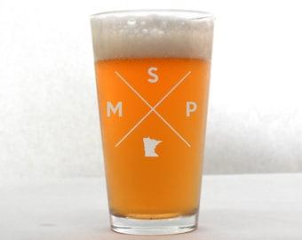 Minneapolis Glass | Minneapolis Pint Glass - Beer Glass - Pint Glass - Beer Glasses - Pint Glasses - Beer Mug - Minneapolis Minnesota