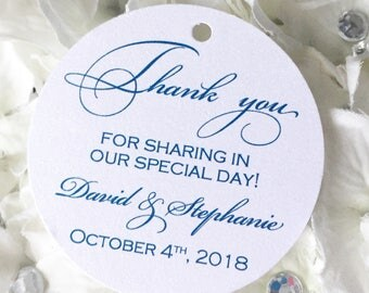 Set of 25 Wedding Thank You Tags -  Midnight Blue Thank You Tag - Gold Glitter Tag - Silver Glitter Tag - Personalized Thank You Tag