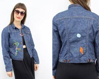 Vintage 70's Dark Blue WRANGLER Denim Jacket / 1970's Embroidered jacket / Cropped Jean Jacket / Women's Size XXS / XS / Small