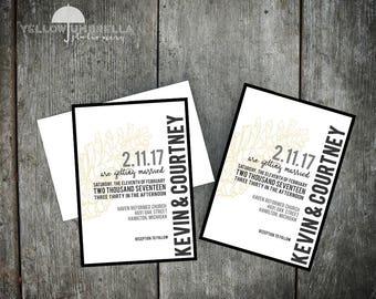 Black & White Pine Cone Wedding Invitation with Envelope - 5x7