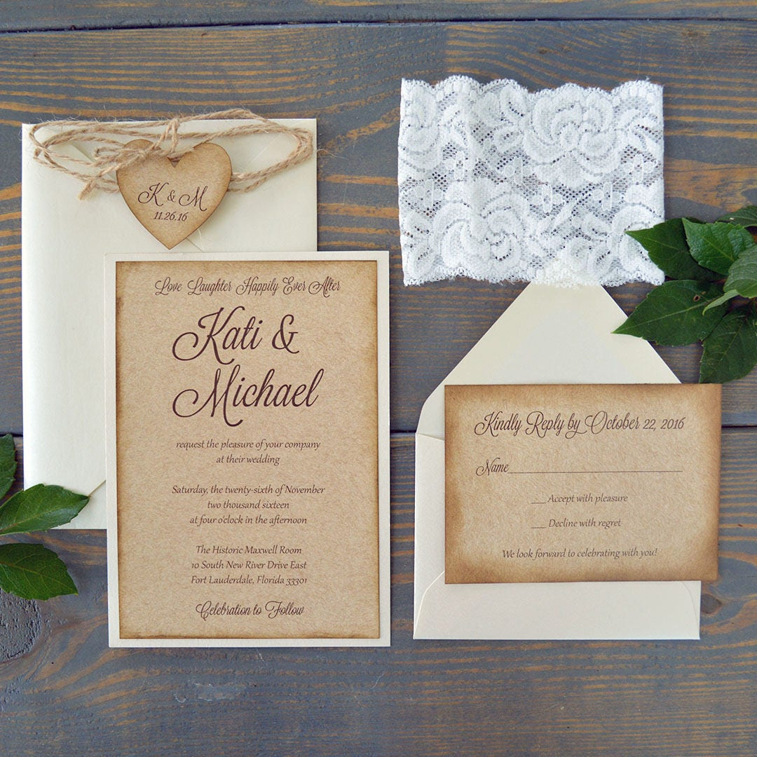 KATI - Burlap & Lace Wedding Invitation - Rustic Country ...