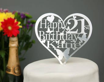 Heart Birthday Cake Topper Decoration-ANY Name and Age 1st,18th,21st,30th,40th,50th,60th,70th,80th,100th,25th,38th