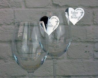 Wedding Name Places for Wine Glasses personalised with guests names & heart shaped.