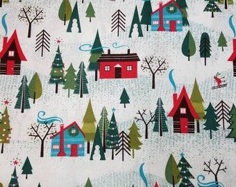 Winter Christmas village houses and trees cotton quilting fabric by the 1/2 yard - 44 inches in width