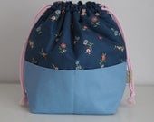 Blue Liberty Print Pocketed DrawstringProject Bag