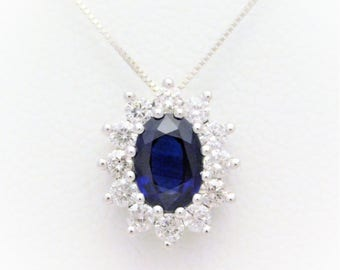 14k White Gold Natural Deep Blue Sapphire and Diamond Halo Pendant Necklace