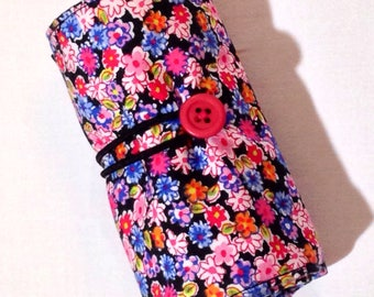 Crayon Roll-Up, Roll-Up Crayon Holder, Crayon Roll, Miniature Pink Flowers, Fabric Crayon Roll