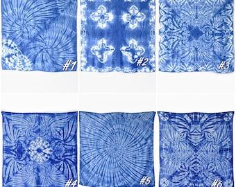 Shibori Indigo Tie Dye,Towel shibori,Blanket Wrap,Small Square Scarf,Neckerchief, Swaddle,Swaddle blanket