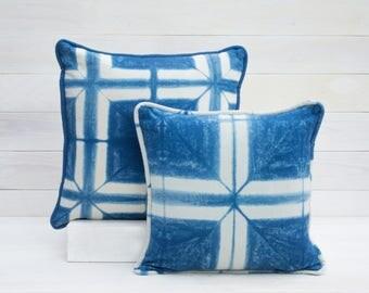 Window Pane Shibori Pillow Cover