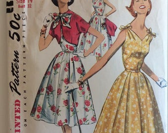 Simplicity 1657 misses dress and bolero jacket size 14 bust 32 vintage 1950's sewing pattern  Uncut  Factory folds