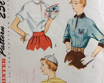 Simplicity 3381 junior misses blouse w/monogram size 11 bust 29 vintage 1950's sewing pattern