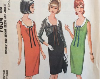 McCall's 7654 misses dress and jacket size 12 bust 32 vintage 1960's sewing pattern