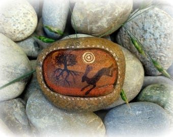 Oak and hare hand painted river stone