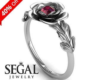 Rose Engagement Ring White Gold Red Ruby Ring Solitaire Engagement Ring Unique Ring Minimalist Ring Rose Engagement Ring - Adalyn