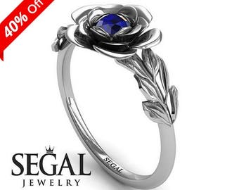 Rose Engagement Ring White Gold Blue Sapphire Ring Solitaire Engagement Ring Simple Ring Minimalist Ring Rose Engagement Ring - Adalyn
