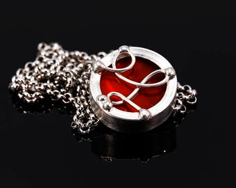 Stained glass red necklace pendant, stain glass red rear view mirror charm, stainless steel necklace, red glass