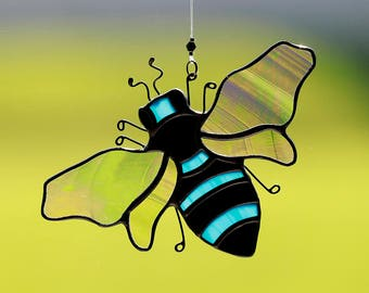 Stained glass bee suncatcher, blue bee, stain glass bumble bee ornament, handmade stained glass bee, honey bee