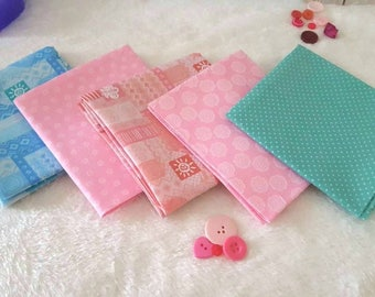 Fat Quarter Bundles - 5 Piece - Pastel Shades - 100% Cotton -  Craft Supplies