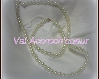 Set Pearl necklace, bracelet and hair stick