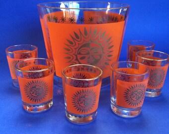 Funky Vintage Orange Glass Gold  Sun Pattern Ice Bucket and Shot Liquor Glasses MCM