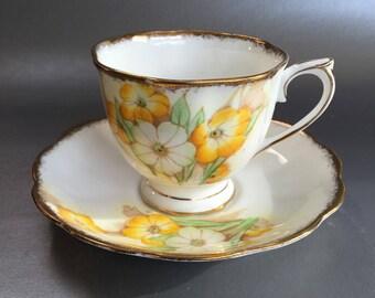 Antique Royal Albert Petunia Floral Bone China Teacup and Saucer England