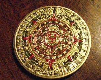 24k Gold Plated Aztec Calendar Coin 39mm