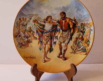 """Artist Signed Yiannis Koutsis Collectors Plate """"Josheph's Coat of Many Colors"""" Plate Number 7940CE THE CREATION Series Royal Cornwall China"""
