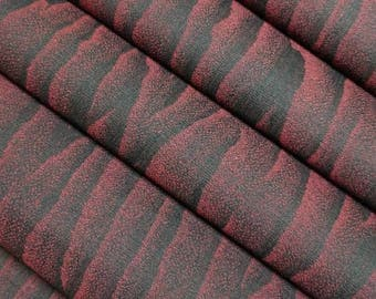 Vintage, black with maroon wood grain pattern, wool and silk kimono fabric - by the yard