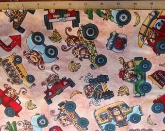 Monkey and banana cotton fabric / monkeys driving vehicles fabric / hit the road fabric / cotton fabric / monkeys / bananas / fabric