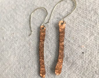 Triangle stamped copper and silver dangle earrings